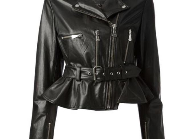 MCQ by Alexander McQueen Moto ; Leather Leather Peplum Motorcycle Jacket Image 2