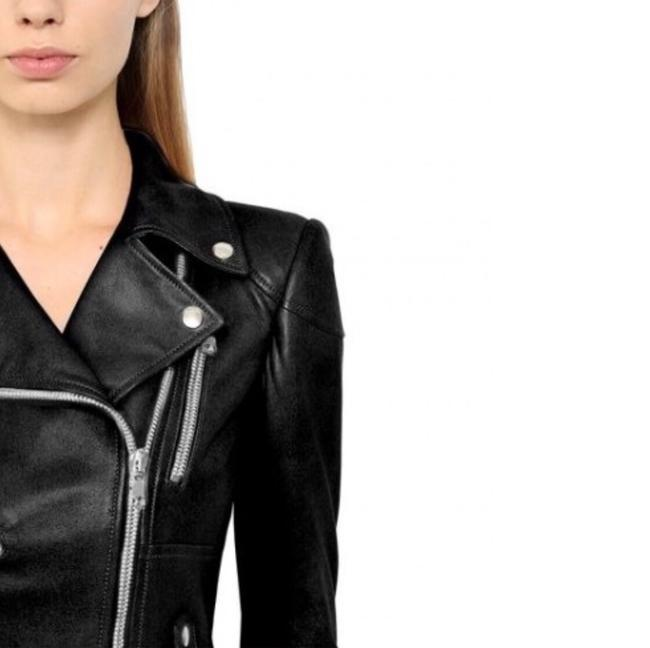 MCQ by Alexander McQueen Moto ; Leather Leather Peplum Motorcycle Jacket Image 3