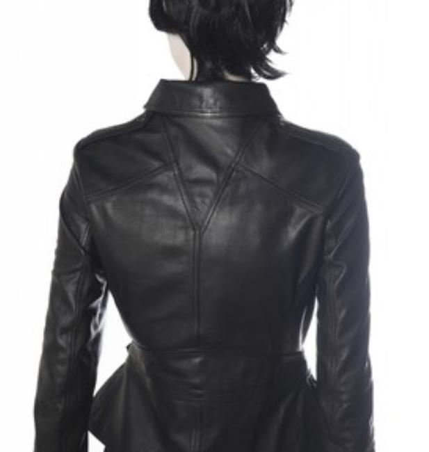 MCQ by Alexander McQueen Moto ; Leather Leather Peplum Motorcycle Jacket Image 4