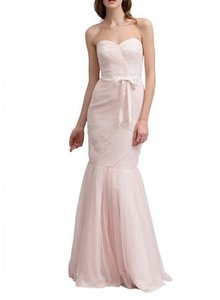 Monique Lhuillier Blush Tulle Strapless Ruched Gown Formal Bridesmaid/Mob Dress Size 8 (M)