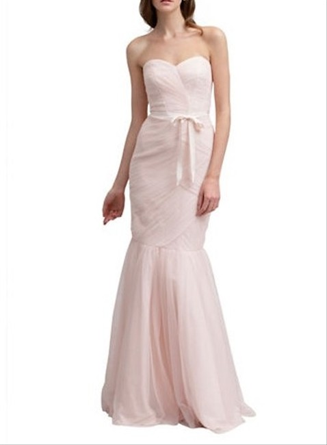Item - Blush Tulle Strapless Ruched Gown Formal Bridesmaid/Mob Dress Size 8 (M)