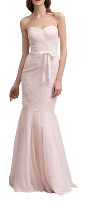 Item - Blush Strapless Rouched Tulle Gown Long Formal Dress Size 8 (M)