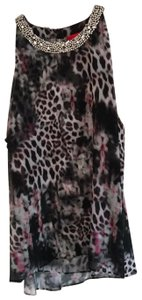 Jennifer Lopez Top pink black white animal print floral jewel neck