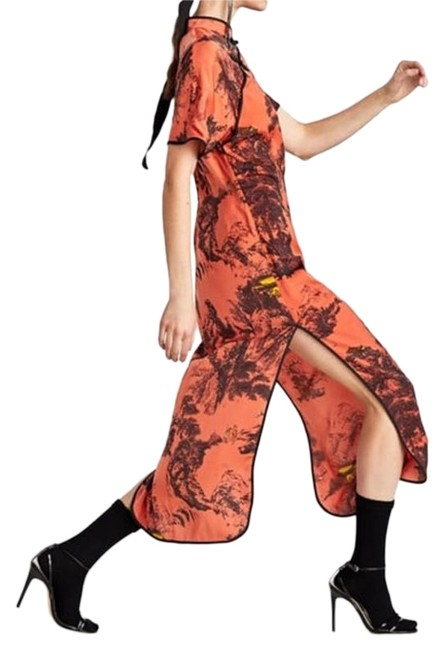 Item - Multi - Rust /Black Chinoiserie Printed Satin Long Night Out Dress Size 8 (M)
