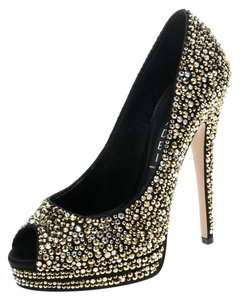 Casadei Satin Crystal Embellished Peep Toe Black Pumps