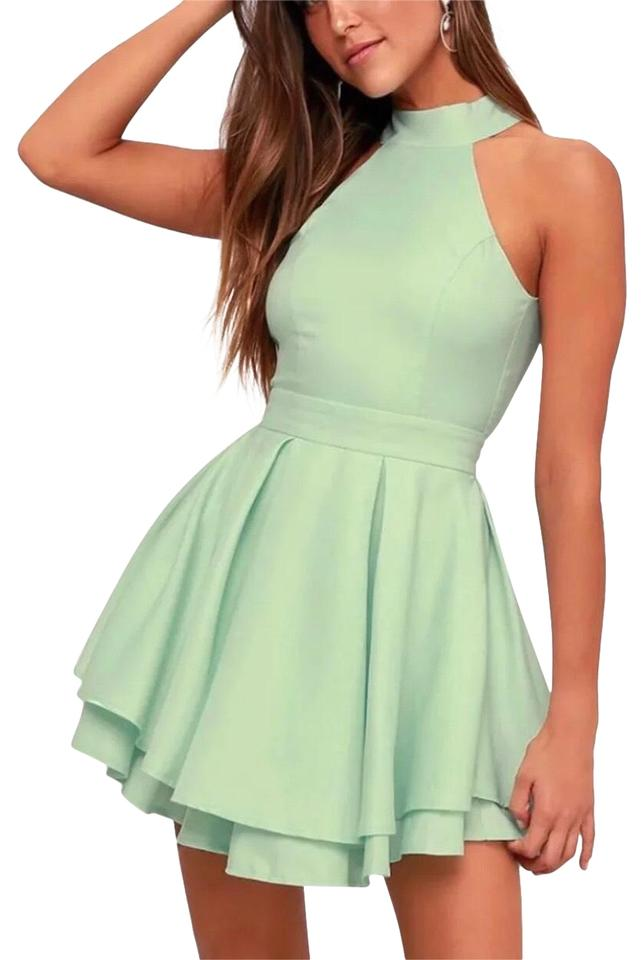 1847e568a17 Lulu s Mint Halter High Neckline Layered Prom Wedding Cocktail Party Night  Out Dress
