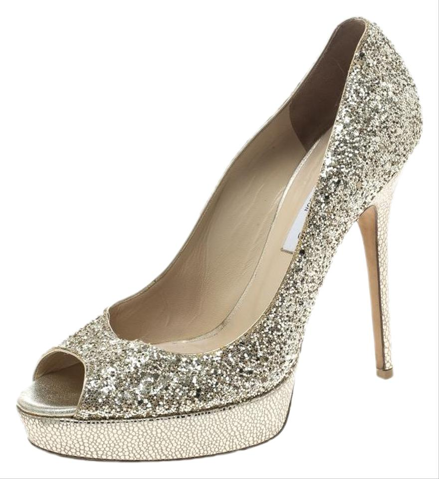 ab1869a8ec4f Jimmy Choo Metallic Gold Coarse Glitter Crown Peep Toe Pumps ...