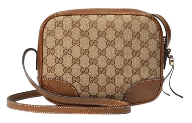 Gucci Canvas Leather Brown Cross Body Bag Gucci Canvas Leather Brown Cross Body Bag Image 1