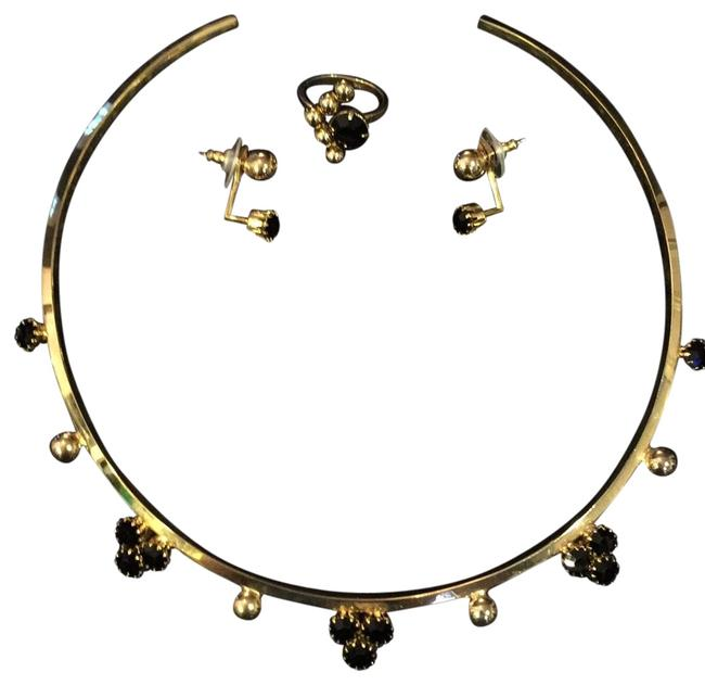 Item - Polished Gold Tone with Jet Crystal Stones Three Piece Set Neck Ring Earrings and Ring
