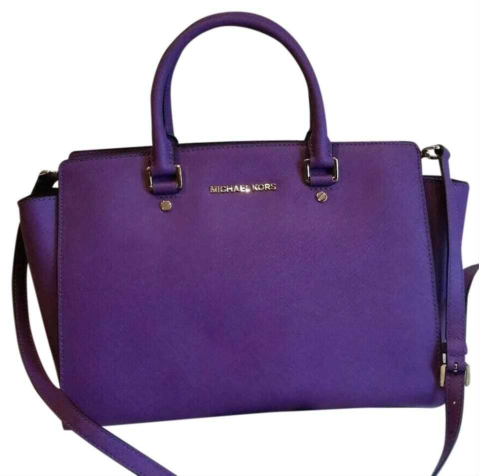 226782049e08 Michael Kors Large Selma Purse (New with Tags) Violet Purple  Gold Tone  Hardware Saffiano Leather Satchel
