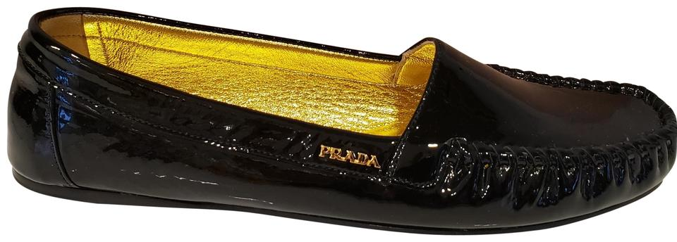 6b554dac9fb Prada Black Patent Leather Driver Driving Loafers Moccasins Flats. Size  EU  38 ...