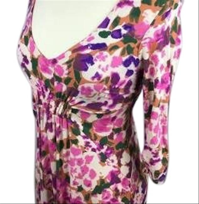 Item - Pink Purple and White Hues Hydrangea Mid-length Short Casual Dress Size 12 (L)