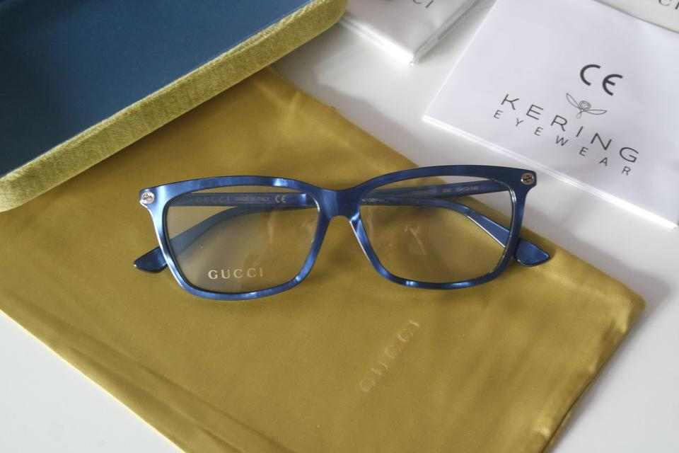 77b476843fd3 Gucci NEW Gucci GG0042OA Asian Fit Blue Cat Eye Eyeglasses Frames Image 4.  12345
