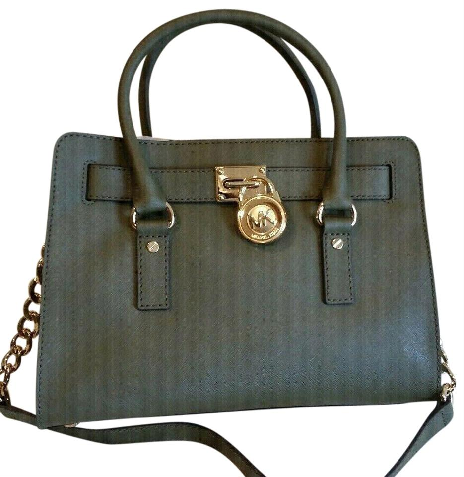 2d89ccc84531 Michael Kors Saffiano Leather Mk Hamilton Mk Medium Hamilton Satchel in  OLIVE GREEN GOLD Hardware ...