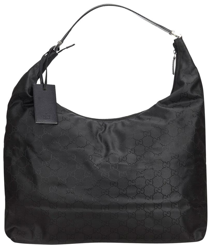 2ee7be7f180 Gucci Fabric Gg Travel Italy W Dust Black Nylon Leather Hobo Bag ...