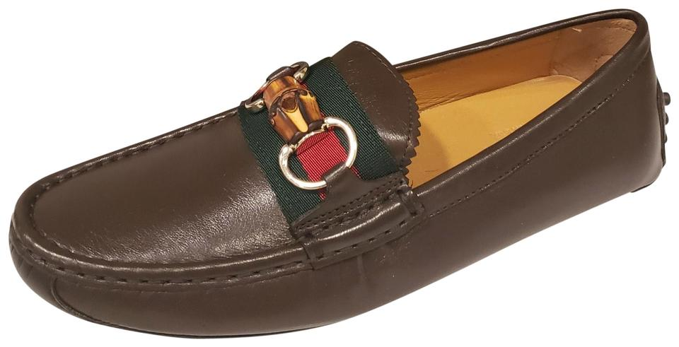 9b4d26b1c7c Gucci Brown Horsebit Leather Web Stripe Bamboo Driver Moccasin Loafer Flats