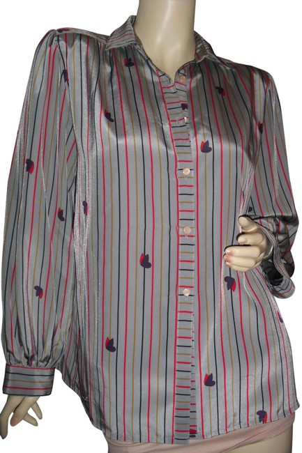 Item - Gray Black Red Mustard Yellow Vertical Stripes Classic Shirred Padded Button-down Top Size 8 (M)