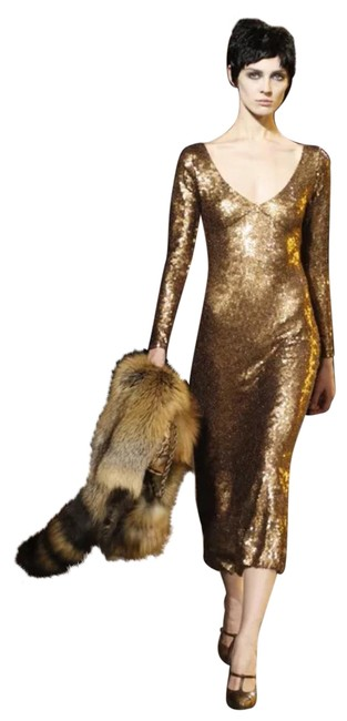 Item - Gold Sequence Mid-length Night Out Dress Size 4 (S)