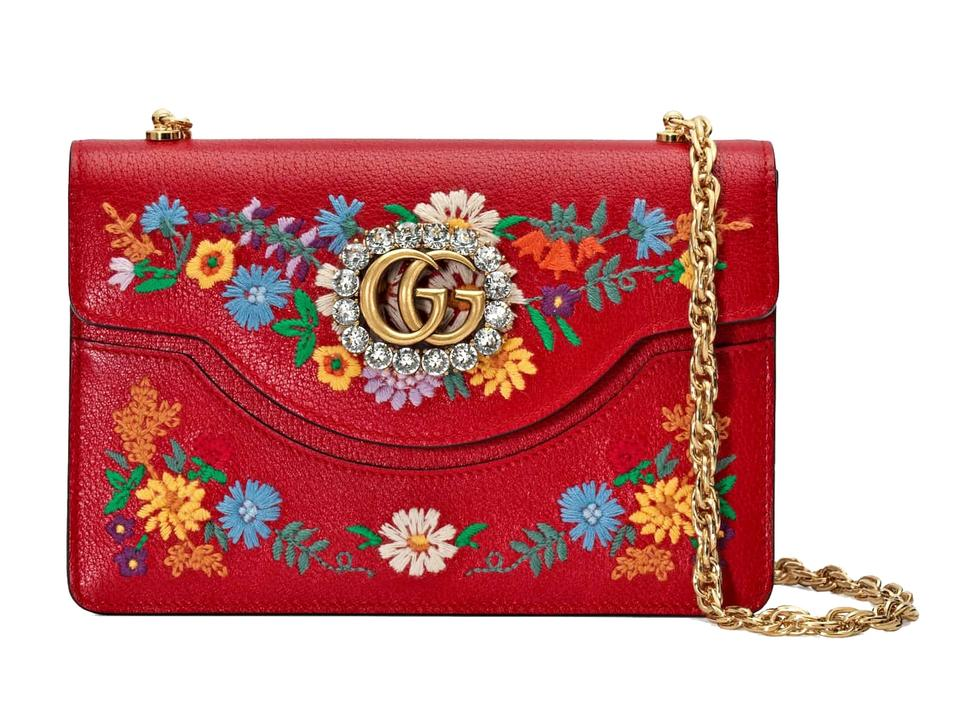 c17f8630dcc Gucci Linea Small Ricami Floral Embroidered Hibiscus Red Multi Leather  Shoulder Bag