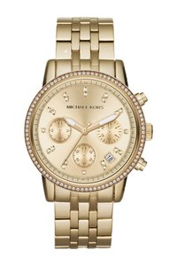 4d60bbbba5f0 Michael Kors  275 NWT MICHAEL KORS Gold Tone Dial Chronograph Ladies Watch  MK6342