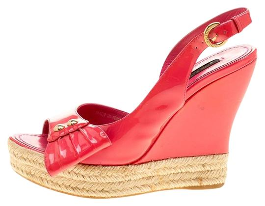 9433ff84ae3 Louis Vuitton Pink Patent Leather Peep Toe Espadrille Wedge ...