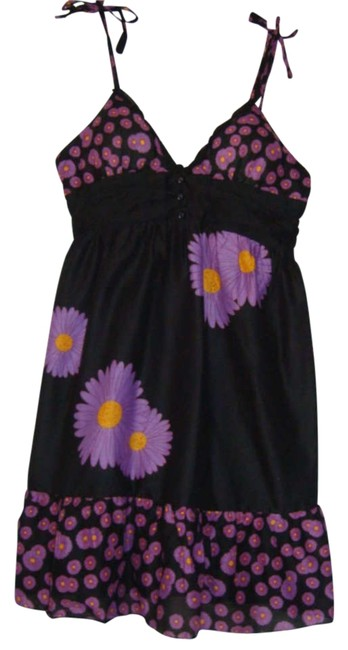 Preload https://img-static.tradesy.com/item/251639/apollo-black-summer-flowered-above-knee-short-casual-dress-size-8-m-0-0-650-650.jpg