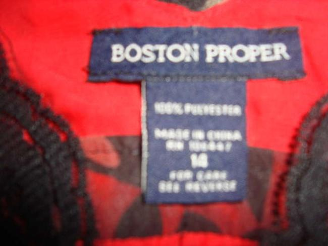 Boston Proper Top RED AND BLACK MULTI
