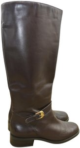 f3c07e87bc Etienne Aigner Tall Equestrian Riding Gold Clasp Brown Boots