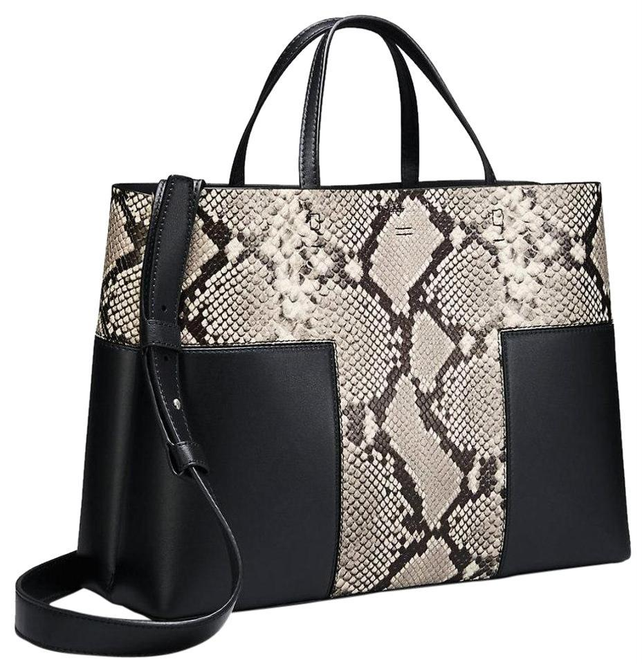 b80b67ecf0 Tory Burch Block-T T Embossed Triple Compartment Natural Black Leather Tote
