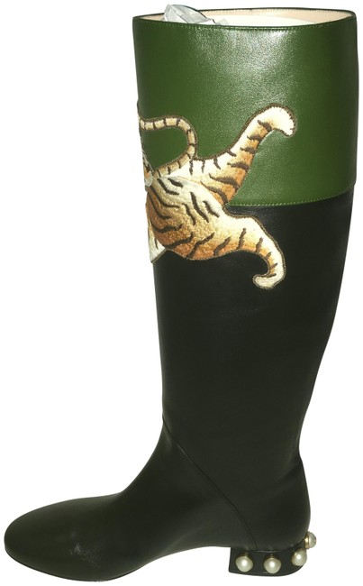 Item - Black and Green Pam Tiger Embroidered Boots/Booties Size EU 38 (Approx. US 8) Regular (M, B)