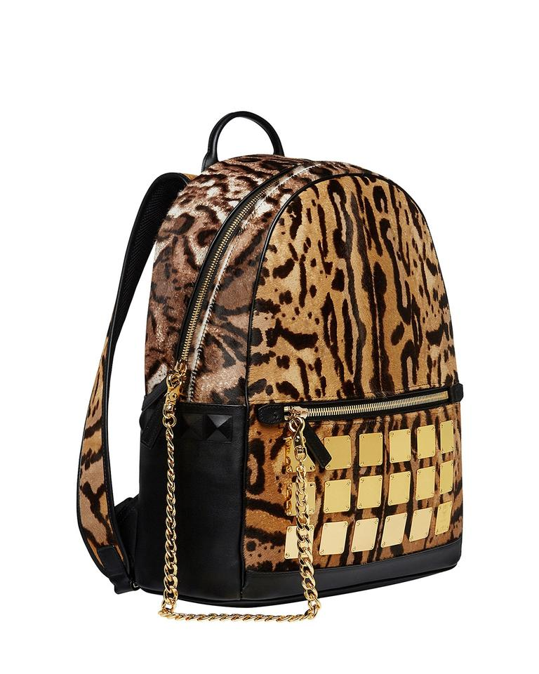 1ad0f594450f MCM Extra Large Stark Brass Plate Leopard Brown Calf Hair Backpack ...
