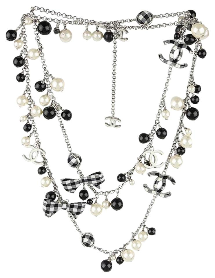 1a3a9eaadd Chanel Black White Pearl Cc Gingham Bow Logo Long Rare Necklace 27% off  retail