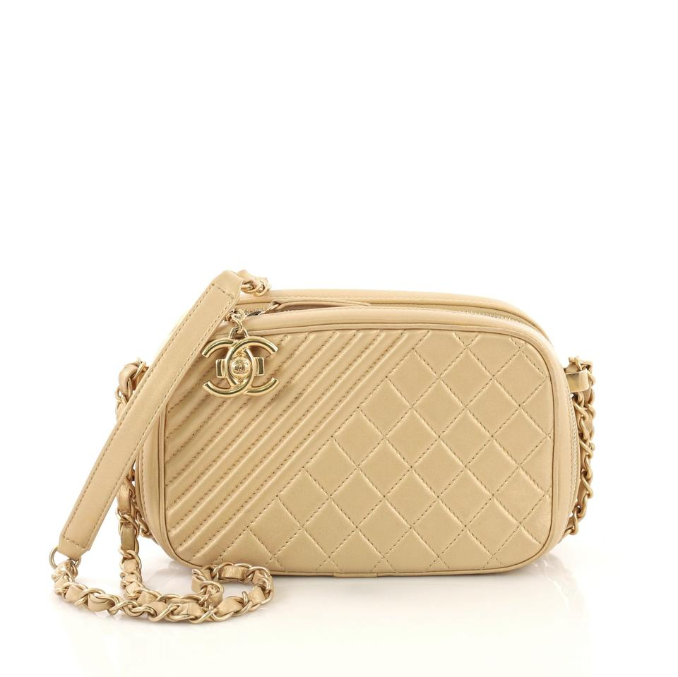 bdded5142cda Chanel Camera Boy Quilted Small Gold Leather Satchel - Tradesy