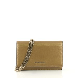 Givenchy Leather Chain Wallet gold Clutch