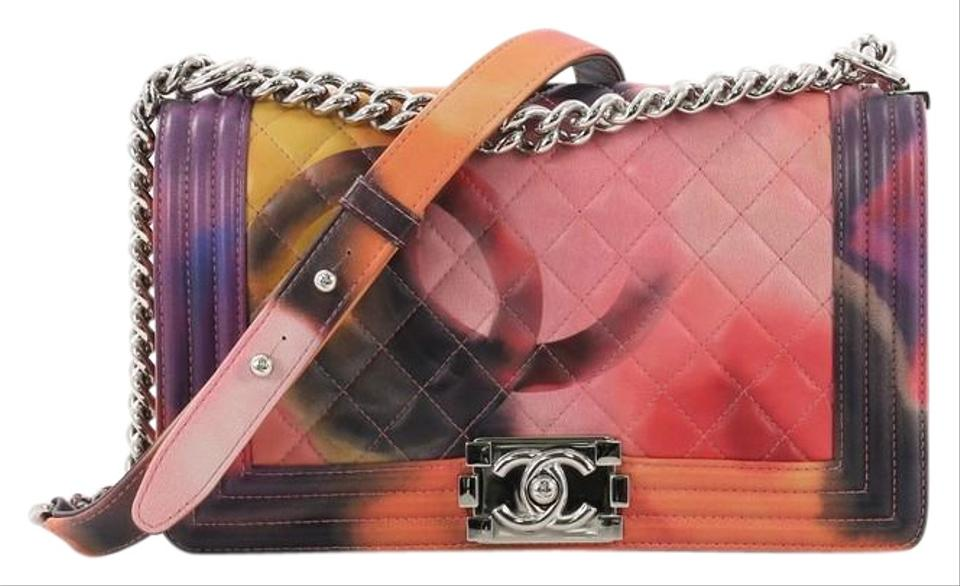 ec74c0d130b4 Chanel Classic Flap Boy Flower Power Quilted Old Medium Multicolor ...