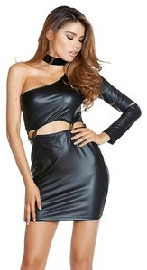 Forplay Faux Leather One Sleeve Clubbing Button Women's Dress