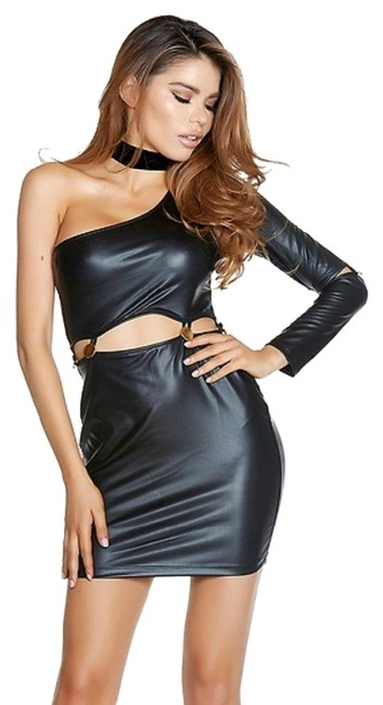 Item - Black One Sleeve Faux Leather Connected At Midriff with Gold Buttons Short Night Out Dress Size 12 (L)