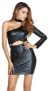 Forplay One Sleeve Faux Leather Button Clubbing Women's Dress
