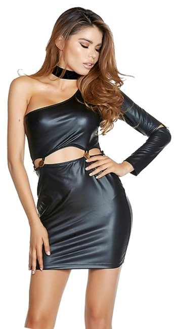 Item - Black One Sleeve Faux Leather Connected At Midriff with Gold Buttons Short Night Out Dress Size 16 (XL, Plus 0x)