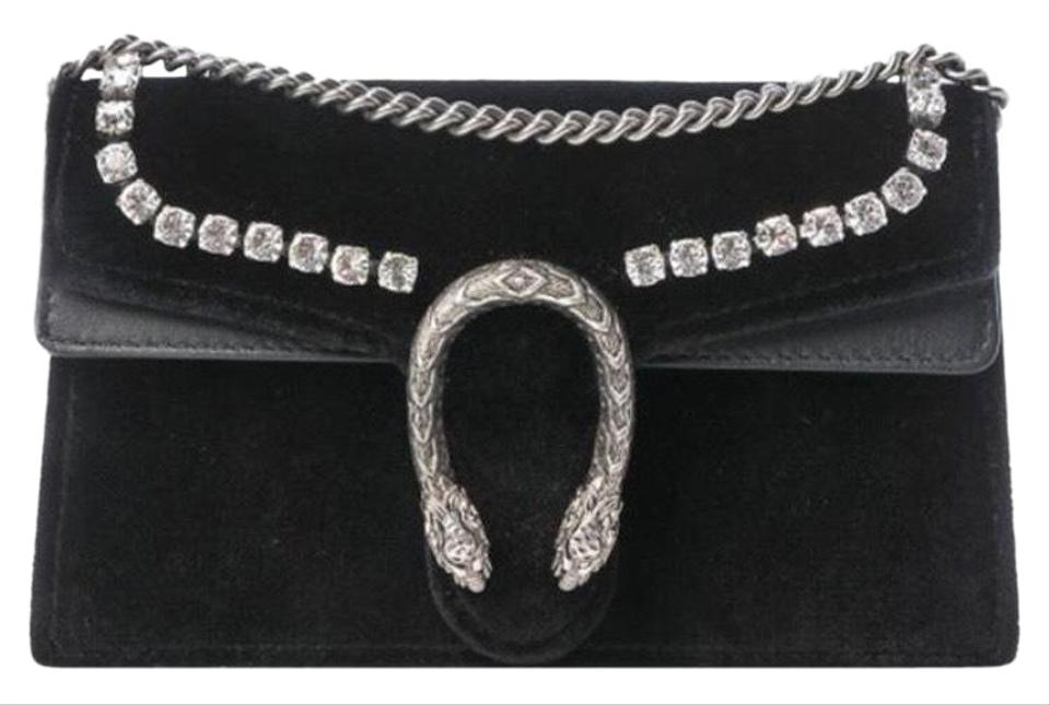 16e716778 Gucci Dionysus #476432 Velvet Super Mini with Crystals Black Leather Cross  Body Bag