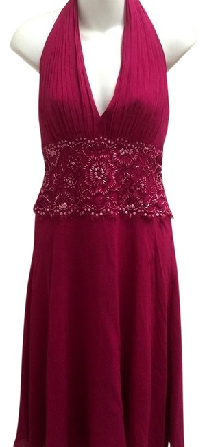 Item - Fuschia Collection Beaded Halter Short Cocktail Dress Size 6 (S)