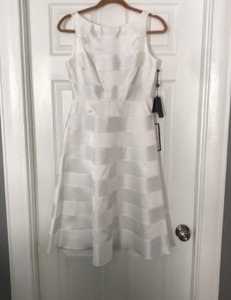 Adrianna Papell White Stretch Charm Mikado Party Casual Wedding Dress Size 4 (S)