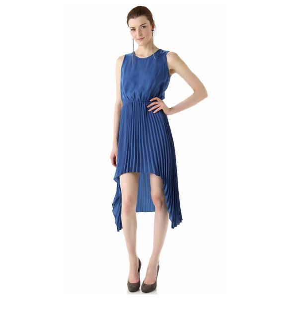 Item - Peacock Blue June Hi-lo Pleated Mid-length Night Out Dress Size 4 (S)