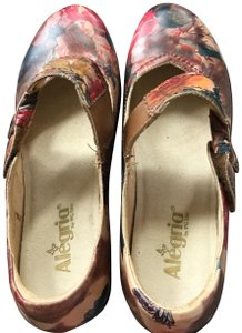 78151088d9d3 Alegria by PG Lite Floral Leather Mary Jane Trendy Multi color flowers Mules