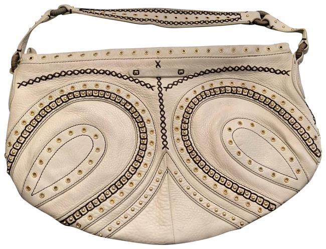 Item - Clutch Hobo Handbag Clutch. Satchel Beige Cream Off White Genuine Leather Baguette