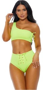 Forplay One Shoulder Lace up 2pc High Waist Neon Bikini Swimsuit