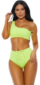 Forplay One Shoulder Lace Up 2pc High Waist Neon Swimsuit Bikini Set