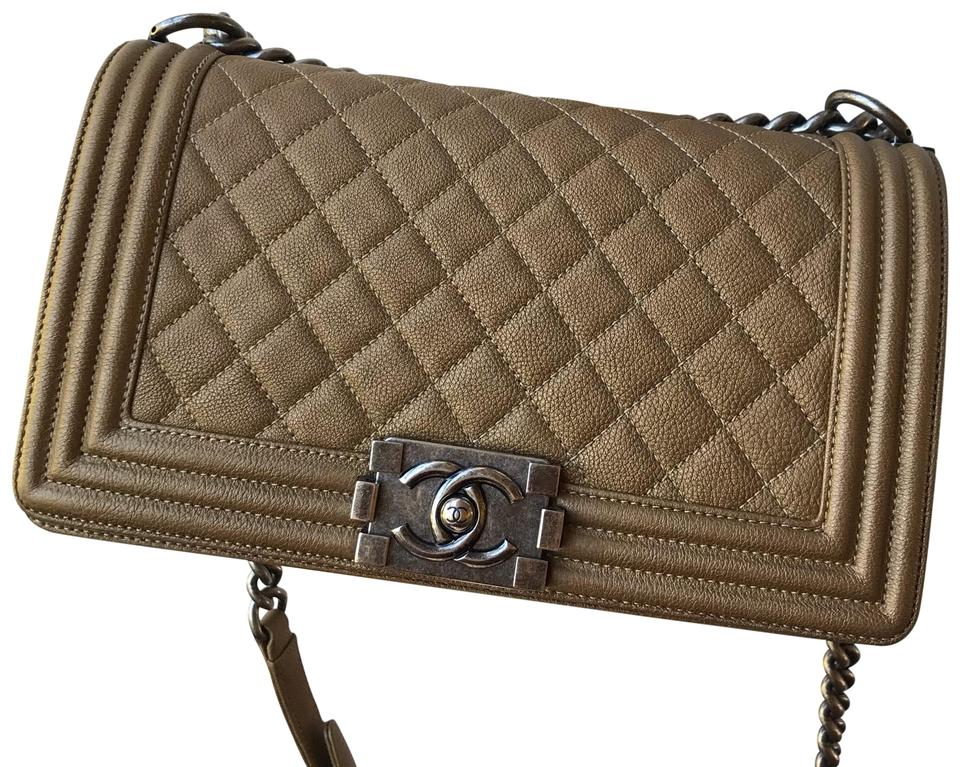 7bd8ffb736e9 Chanel Boy Quilted Old Medium Bronze Calfskin Leather Cross Body Bag ...