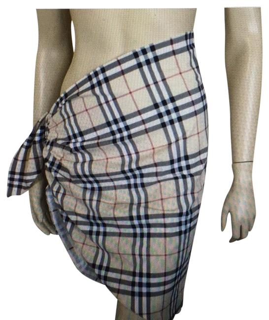 Item - Beige Check Wrap Cover-up/Sarong Size OS (one size)