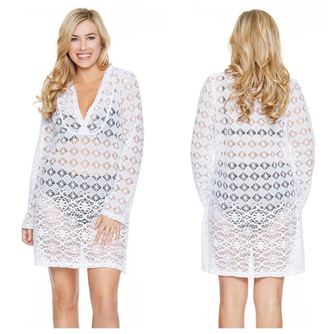 Item - White Mood Sheer Tunic Dress Cover-up/Sarong Size 16 (XL, Plus 0x)